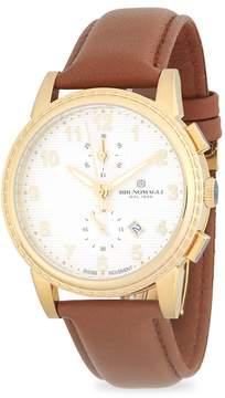 Bruno Magli Men's Round Chronograph Leather-Strap Watch