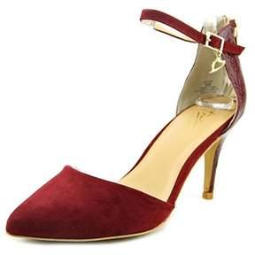 Thalia Sodi Vanesssa Women Pointed Toe Canvas Burgundy Heels.