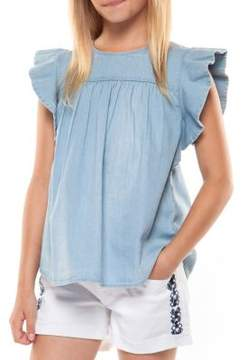 Dex Girl's Frill-Sleeve Cotton Top