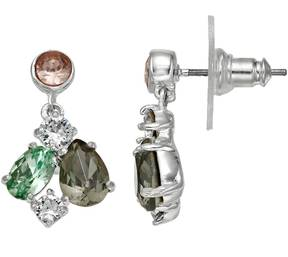 Brilliance+ Brilliance Silver Plated Cluster Drop Earrings with Swarovski Crystals