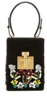 Oscar de la Renta Black Embroidered Velvet Mini Alibi Bag