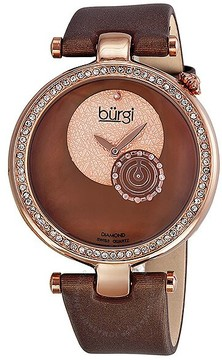 Burgi Diamond-accented Brown Strap Ladies Watch