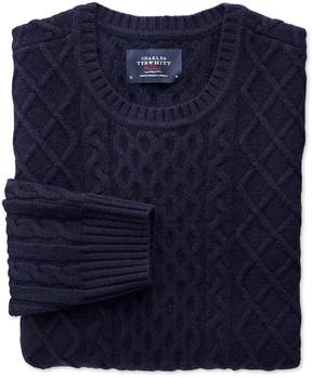 Charles Tyrwhitt Navy Lambswool Cable Crew Neck Sweater Size XL