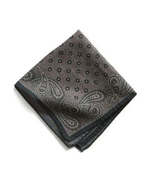 Todd Snyder Italian Wool Charcoal Paisley Pocket Square
