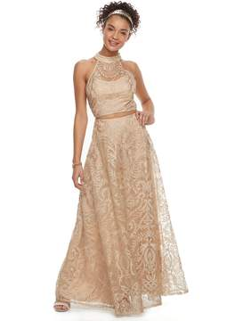 Speechless Juniors' Embroidered Mesh Halter 2-Piece Prom Dress