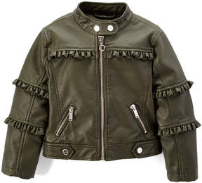 Urban Republic Basil Green Ruffle-Accent Faux Leather Jacket - Toddler & Girls