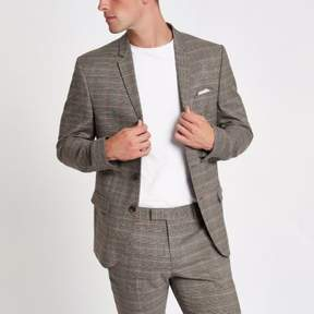 River Island Mens Brown and pink check skinny fit suit jacket