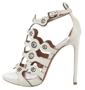 Alaia Leather Scalloped-Trim Sandals