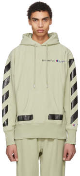 Off-White Beige and Black Champion Edition Logo Hoodie