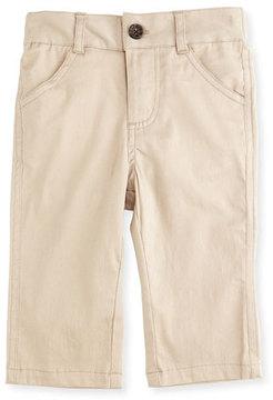 Andy & Evan Twill Straight-Leg Pants, Khaki, Size 6-24 Months