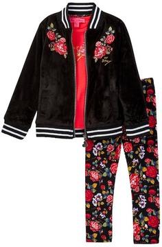 Betsey Johnson Floral Tee, Velvet Bomber & Floral Legging Set (Toddler Girls)