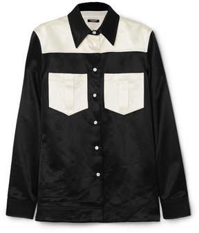 Calvin Klein Two-tone Cotton-blend Satin Shirt - Black