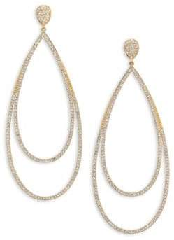 Adriana Orsini Pave Crystal Double-Tier Drop Earrings/Goldtone