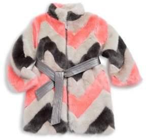 Imoga Toddler's, Little Girl's & Girl's Zigzag Faux Fur Coat