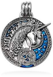 Celtic Bling Jewelry Blue Unicorn Sterling Silver Pendant.