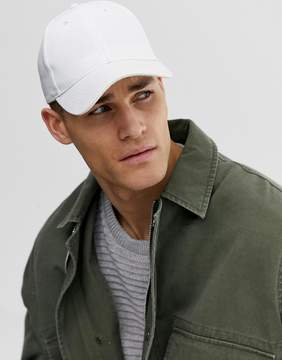 Asos Baseball Cap In White Canvas