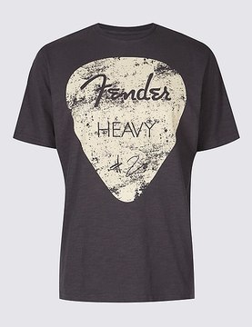 Marks and Spencer Pure Cotton Fender Guitar T-shirt