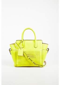 Reed Krakoff Pre-owned Yellow Leather Top Handle Lasercut atlantique Crossbody Bag.