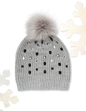 New York & Co. Jeweled Knit Pom-Pom Hat