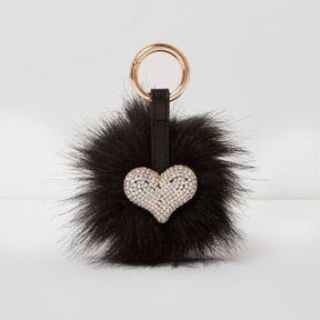 River Island Womens Black faux fur pom pom rhinestone heart keyring