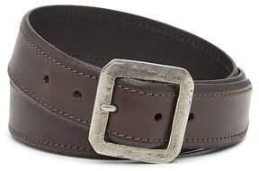 John Varvatos Collection Leather Square Buckle Belt