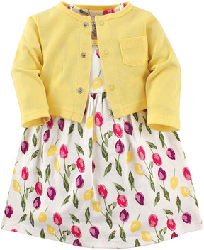 Luvable Friends White & Yellow Tulip Dress & Cardigan Set - Newborn & Infant