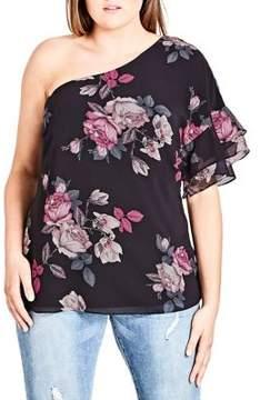 City Chic Plus One-Shoulder Floral Top