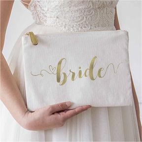 Cathy's Concepts CATHYS CONCEPTS Gold Foil Bride Canvas Clutch