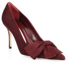 Manolo Blahnik Beccara 90 Bow Suede Point Toe Pumps