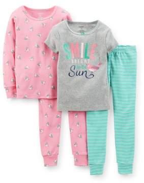 Carter's Baby Girls 4-Piece Snug Fit Cotton PJs - Bird Stripe 6M