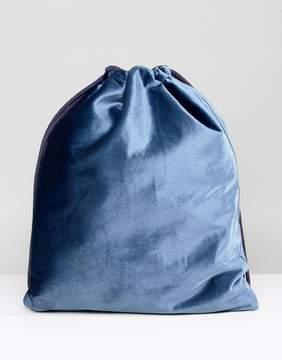 Mi-Pac Velvet Drawstring Backpack in Petrol Blue