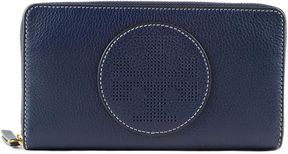 Tory Burch Perforated Logo Zip Around Wallet - BLUE - STYLE