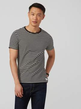 Frank and Oak Striped Cotton T-Shirt in Black and White
