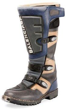 Balenciaga Rider Leather Moto Boot, Gray