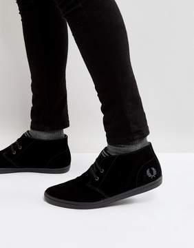 Fred Perry Byron Mid Suede Sneakers in Black