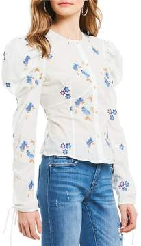 Chelsea & Violet Mutton Sleeve Floral Embroidered Button Front Top