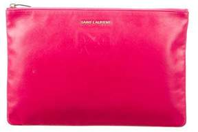Saint Laurent Letters Zip Clutch - PINK - STYLE