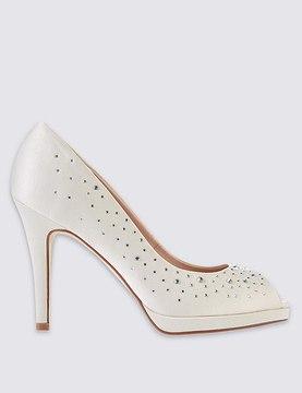 Marks and Spencer Stiletto Peep Diamante Platform Court Shoes