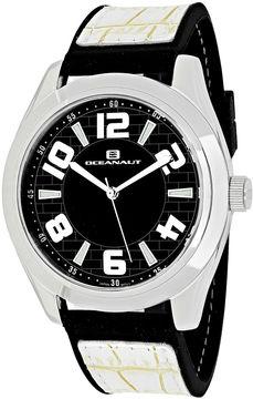 Oceanaut Vault Mens Black Dial White Strap Watch