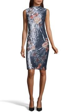 ECI Women's Crushed Velvet Sheath Dress