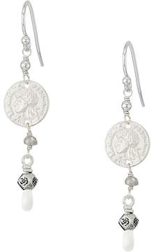 Chan Luu Drop Earrings with Coin and Semi Precious Stones Earring