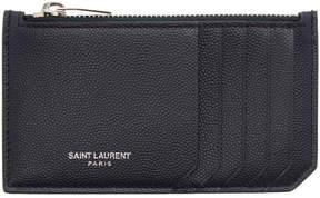 Saint Laurent Navy 5 Fragments Zip Card Holder