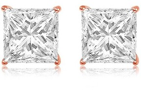 Alpha A A CZ 14kt Rose Gold Square Stud Earrings, 8mm