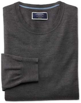 Charles Tyrwhitt Charcoal Merino Wool Crew Neck Sweater Size Large