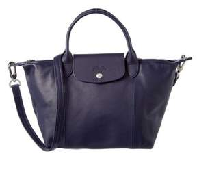 Longchamp Le Pliage Cuir Small Leather Top Handle. - NAVY - STYLE