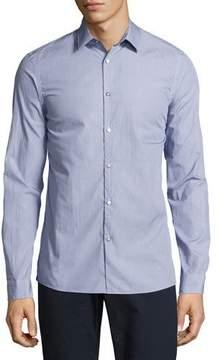 Michael Kors Dot-Print Slim-Fit Stretch Shirt, Navy