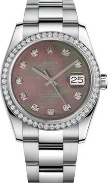 Rolex Datejust Stainless Steel Custom Diamond Bezel & Black Mother of Pearl Diamond Dial Oyster Bracelet Watch