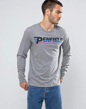 Penfield Rhinecliffe Long Sleeve Top Sports Logo Regular Fit in Gray Marl