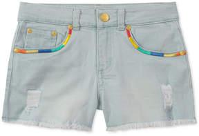 Tommy Hilfiger Embroidered Frayed-Hem Denim Shorts, Big Girls