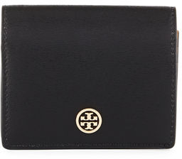 Tory Burch Parker Leather Foldable Mini Wallet - BLACK - STYLE
